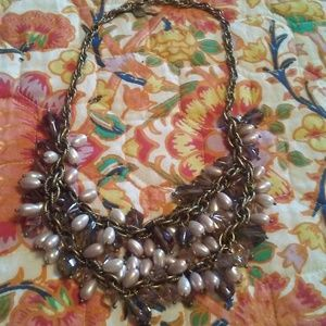 Talbots Gold Bib Necklace